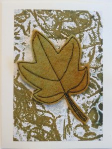 Felt Free Motion Stitched Palmate Leaf Card