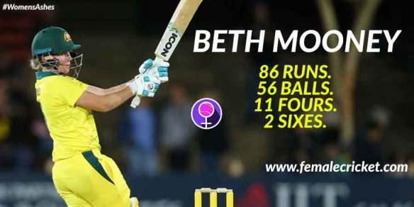 Beth Mooney steals the show at women's Ashes 2017. She struck a majestic 56 ball 86 runs to help Australia retain the women's ashes 2017.