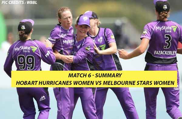 Match 6 – Hobart Hurricanes Women vs Melbourne Stars Women at West Park Oval, Burnie