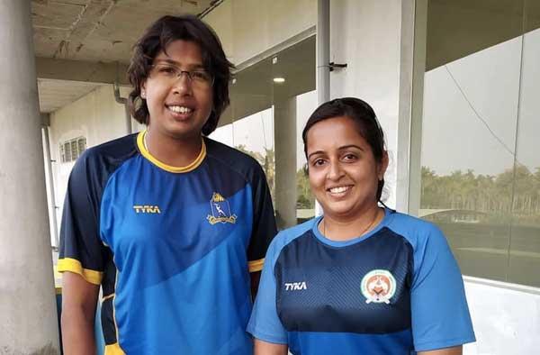 Dharini Rochani with Jhulan Goswami