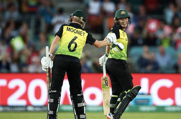 Alyssa Healy and Beth Mooney celebrate their record partnership