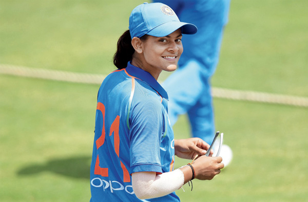 Radha Yadav during the India 'A' women's match against England at the Brabourne Stadium recently. Pic/Suresh Karkera