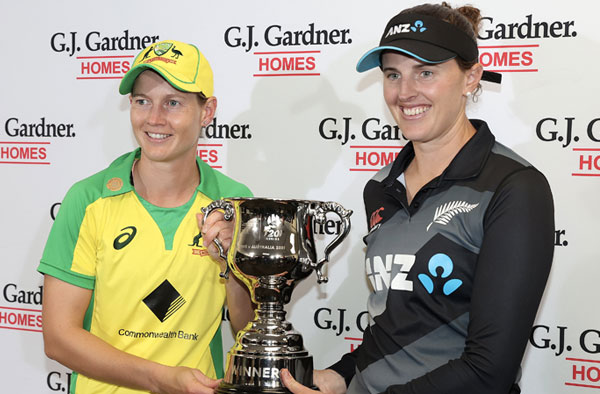 Australia and New Zealand share the series trophy. PC: AusWomenCricket / Twitter