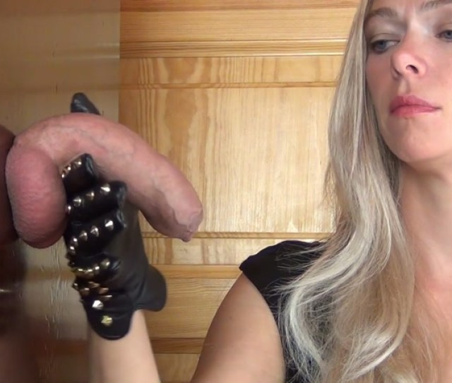 Aballs And Cock Crushing Sexbomb Cum Drinking Ruined Orgasm Edging Handjob In Rough Leather Gloves Feat Alina