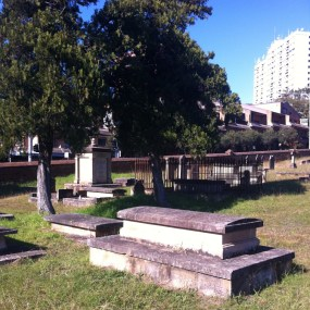In the foreground of this image is the grave of Elizabeth and her husband William H. Bennett in Section 2, Row F, No. 1 at St. John's Cemetery, Parramatta. Photo: Michaela Ann Cameron (2015)