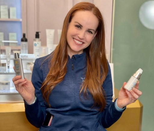 Dr. Killeen with Skinceuticals products.