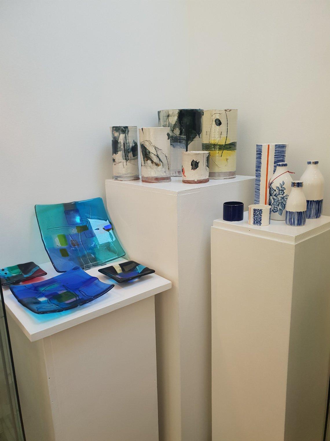 A display of ceramic sculptures and pots at Sara Preisler, Birmingham.
