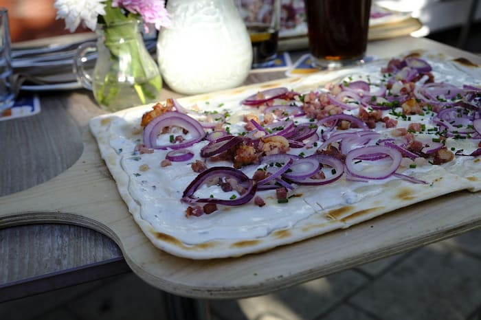 Tarte-flambee, a speciality in the Alsace Region