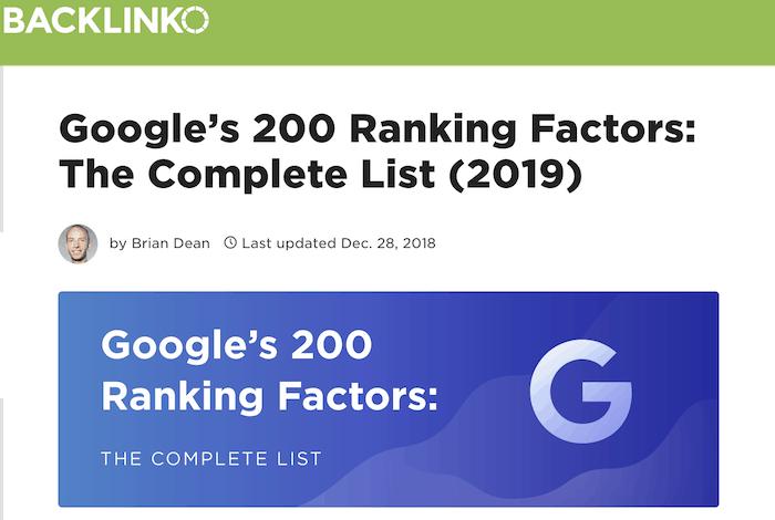 Googles 200 ranking factors