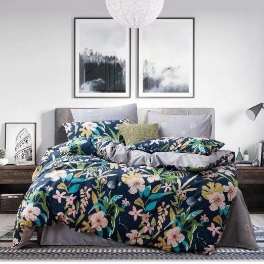 cubre plumón king azul con flores