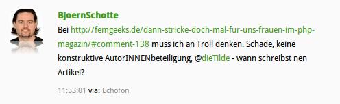Screenshot Tweet Björn Schotte