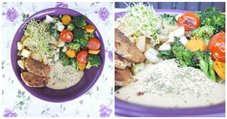 Ismerkedés a tempéhvel (fermentált szója) Zita receptje alapján. Mindannyian imádjuk. Eddig nem ettünk szóját, de alkalmanként biztosan helyet kap az asztalunkon. Mellé humuszt és grillezett zöldségeket tálaltam.
