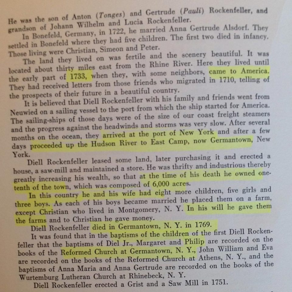 Rockefeller Genealogy Vol IV Pg6 My 7th Great Grandfather