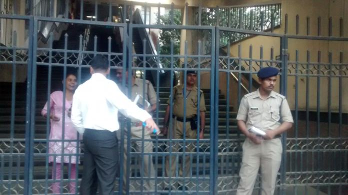 Police blocked Gate No. 2 of the metro station and asked to people to vacate it.