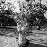A powerful, symbolic sculpture that was erected at the protest site. The JAC has been conducting 'Eklavya Speaks' programmes where Dalit bahujan students have spoken out publicly about their experiences of caste discrimination in the university.