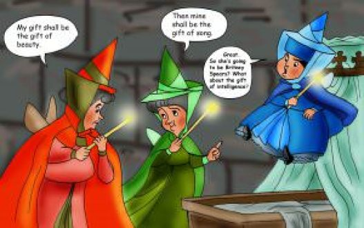 Fairy godmothers giving traits to Sleeping Beauty