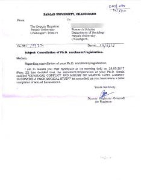 Official letter of the cancellation of the student's PhD enrollment
