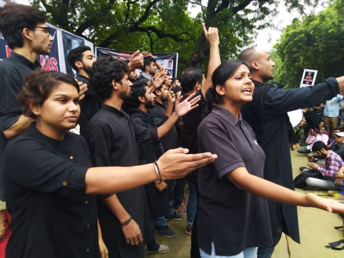 Asmita Theatre Group performing at the #StopKillingUs protest