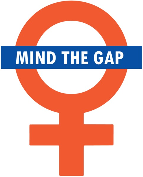 A picture of a female sign with the words 'mind the gap' slapped over it in the style of the London Tube