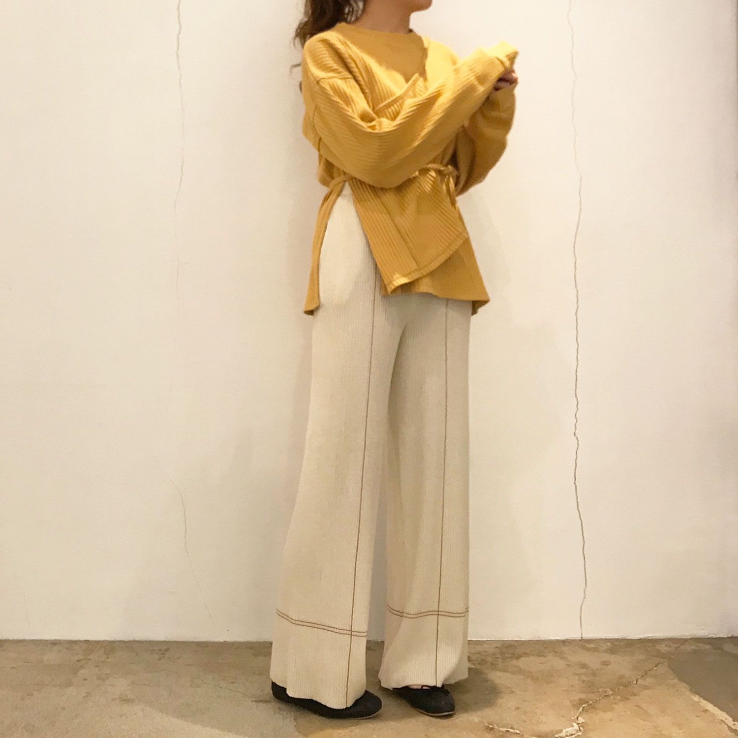 【Baserange】SHAW LONG SLEEVE-RIB FLEECE (LABURNUM YELLOW)