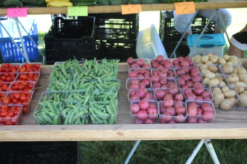 Photo of tomatoes, white potatoes, string beans and potatoes at farmer's market