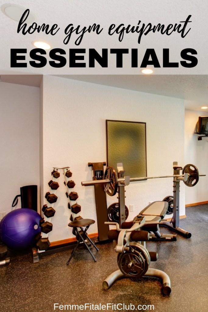 Home Gym Equipment Essentials #homegym #gym #equipment #workoutequipment #bench #swissball #handweights #workoutdvds #benchpress #fitnesstips #weightlosstips #homegymspace (1)