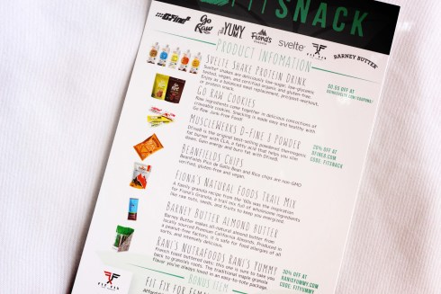 April Fit Snack Box Product Information Card