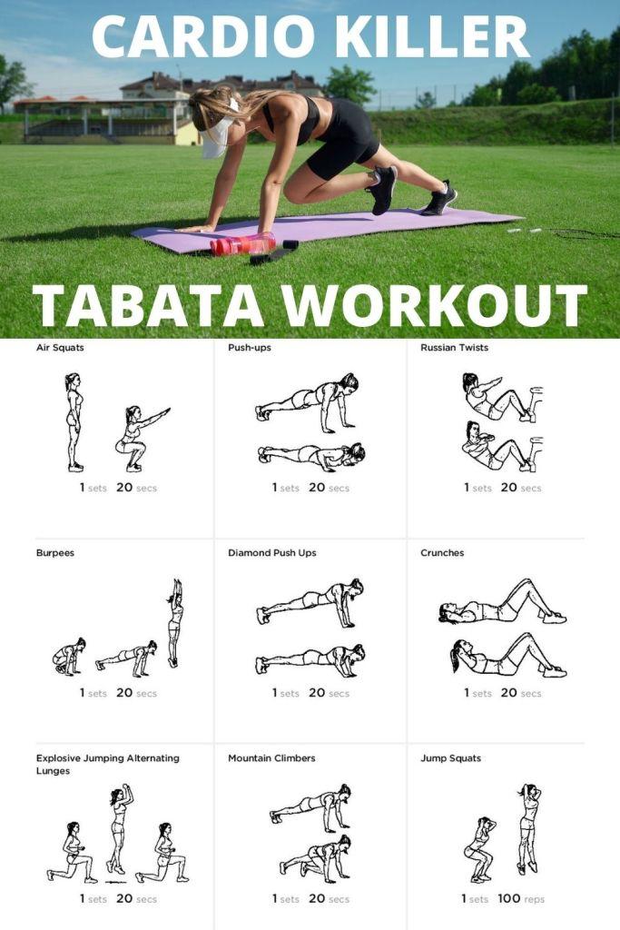 Get in killer shape with Tabata cardio.  So try this sample Tabata workout and burn mega calories. #tabata #heartrate #burnfat #fatburn #calorieburn #burncalories #cardio
