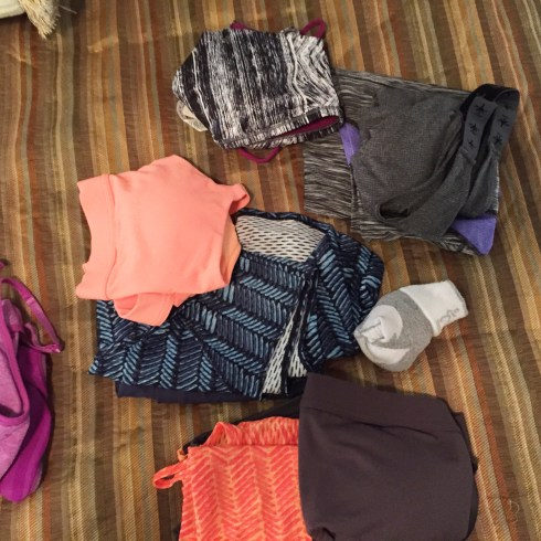 Workout clothes including Soybu and Under Armour brands