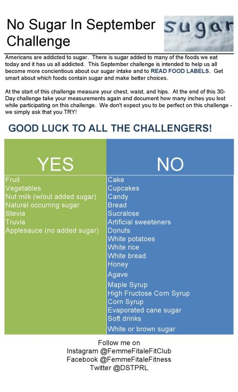 No Sugar In September Challenge Rules