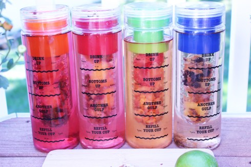 Four Infusion Water Bottles in a row