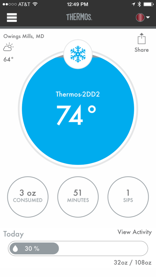 Daily water intake tracking with the Thermos Connected Hydration Bottle with Smart Lid