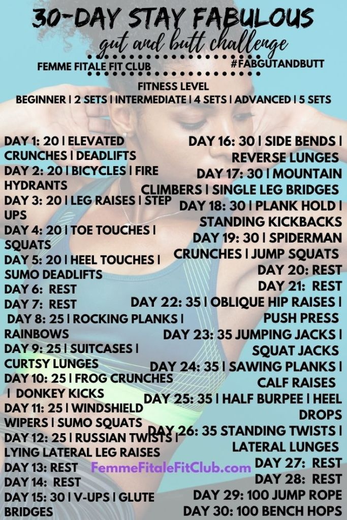 Get your abs and booty right and tight with this 30-Day Belly and Booty Fitness Challenge you can do in the comfort of your own home with minimal equipment.  #womenshealth #summertimefine #bootylicious #gutandbutt #femmefitalefitclub #glutes #howtogrowyourbooty #flatabs #babenation #flattummy