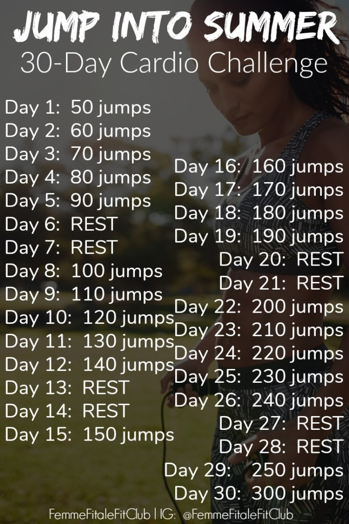 The best way to lose weight and burn fat is with this ultimate Jump Into Summer challenge which lasts for the next 30 days. #jumprope #cardio #health #healthy #fitness #burnfat #jumpropeforfitness