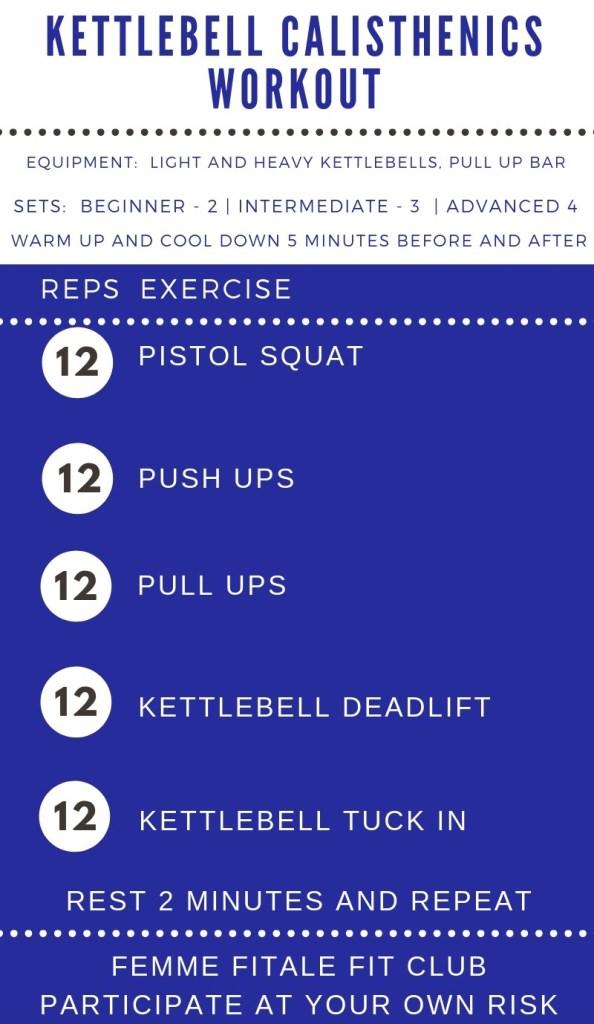 Kettlebell Calisthenics Workout by Femme Fitale Fit Club #workout #totalbodyworkout #fullbodyworkout #kettlebellworkout #kbworkout