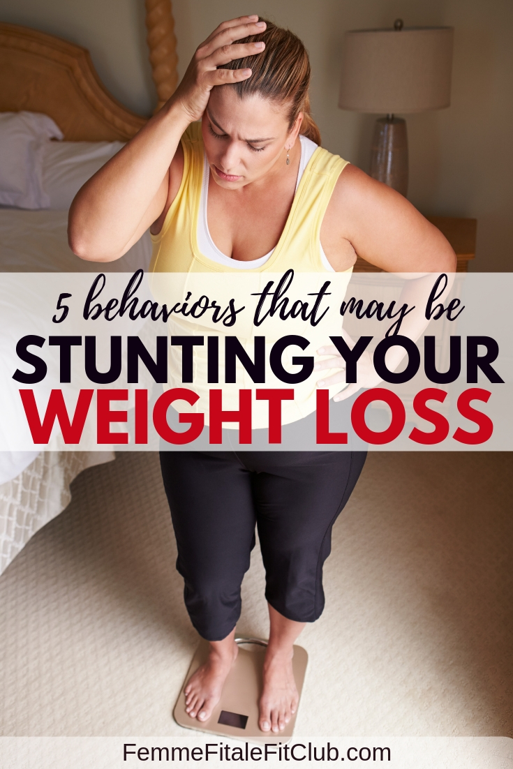 5 Behaviors that may be stunting your weight loss #fatloss #weightlossjourney #weightlosstransformation #healthyweightloss #alcohol #dietpills #weightlosspills #faddiets