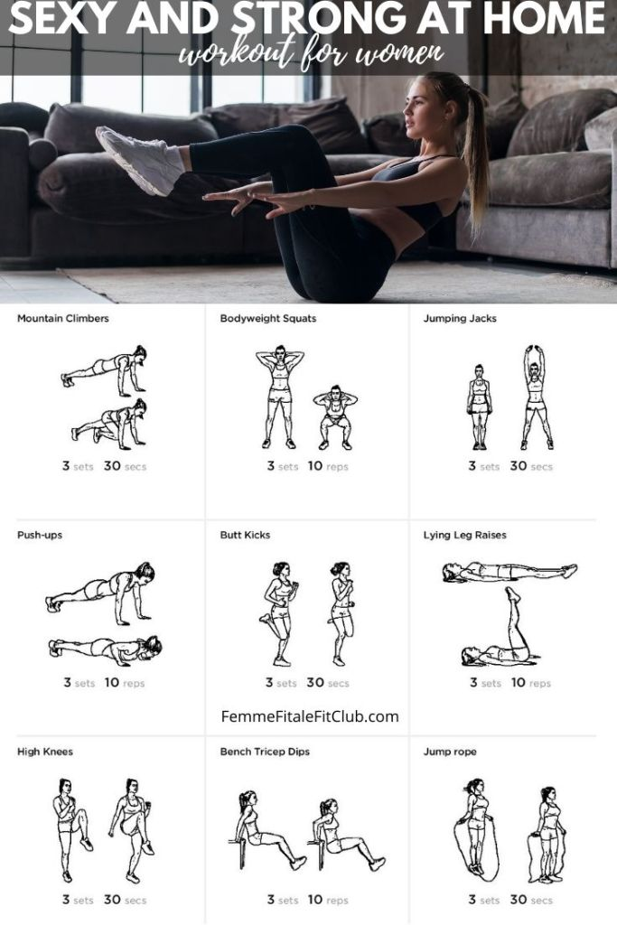 If you want a sexy and toned body perform this at-home workout for women 3 times a week.  Complete 3 circuits if you are a beginner and 5 circuits if you are advanced.  #sexyworkout #weightlossforwomen #athomeworkoutforwomen #sexyandstrong #strongworkout #strongworkoutforwomen #calisthenics #fitness #fitfam #fatlossforwomen #bodyweightworkout