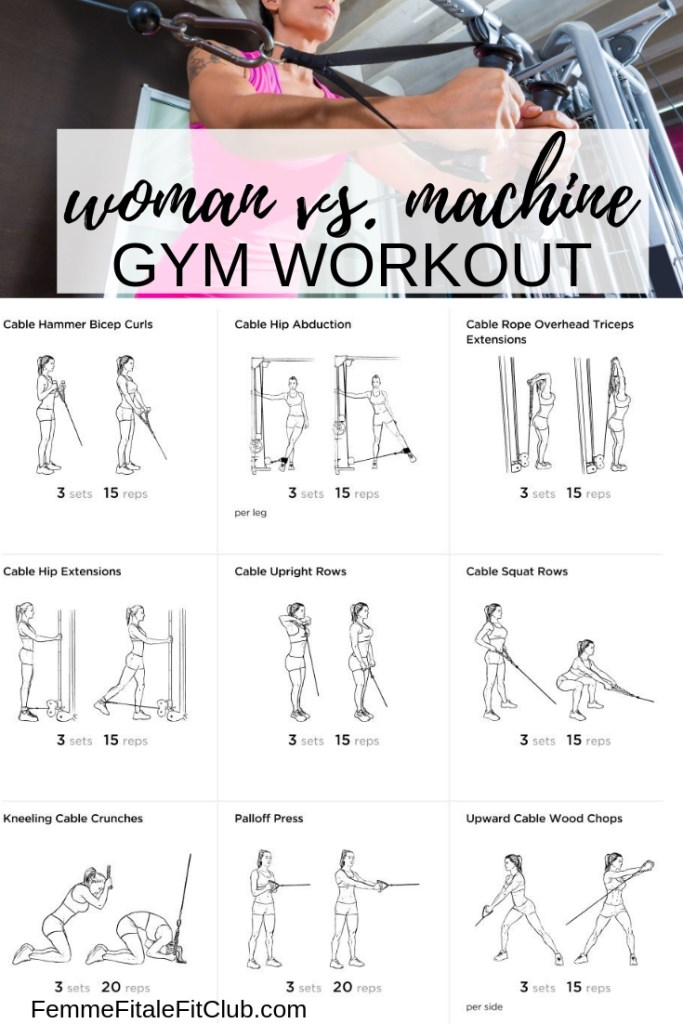 Woman vs. Machine Gym Workout #cablemachine #woodchops #rows #kickbacks #glutework #biceps #hammercurls #exercise #crunches #workout #gymworkout