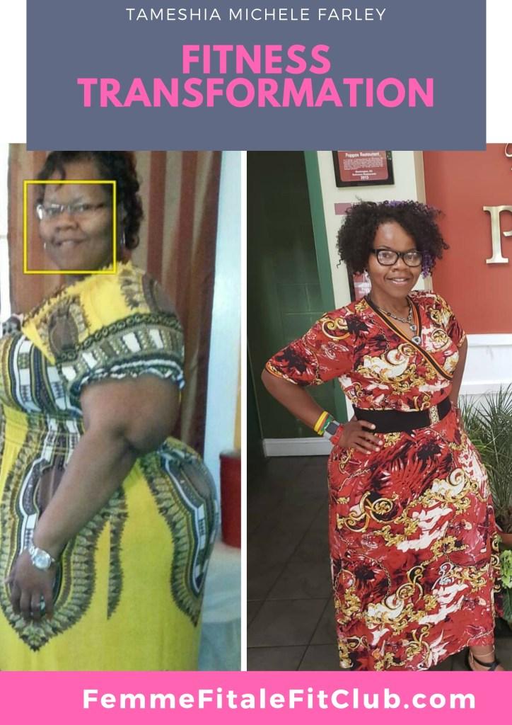 Tameshia Michele Farley #fatloss #weightlosstransformation #weightlossjourney #blackwomendoworkout #blackfitness #blackwomentransformation