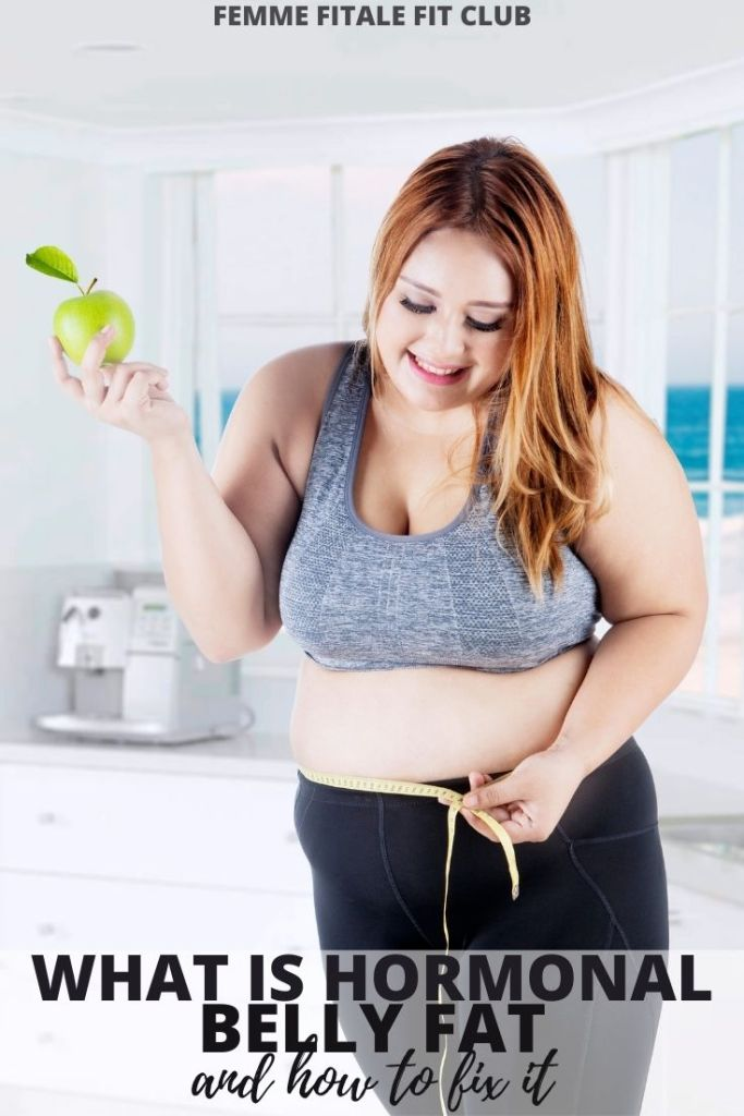Do you have hormonal belly due to PCOS, stress, IVF, or menopause?  Learn what you can do about it.  #bellyfat #hormones #cortisol #healthyfat #bodyfat #weightlosstips #abs #sixpackabs