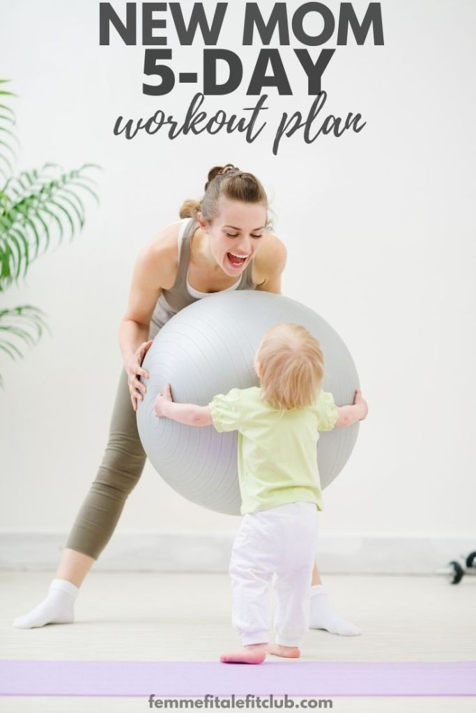 If you aren't able to sign up for mommy and me fitness classes then this new mom at-home 5-day exercise plan is just what you need.  #postpartum #mommyworkout #momsintofitness #totalbodyworkout #exercise #postnatal #momintofitness #firsttimemom