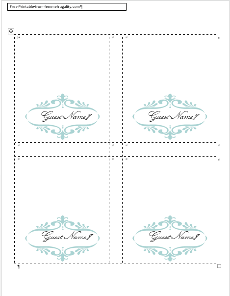 Word Place Card Template