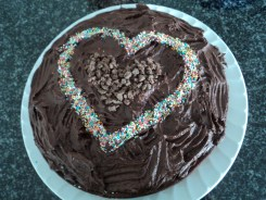 My non-existent cake - at least the icing and heart made up for it :)