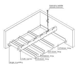 Multi panel sávos fém álmennyezet szerkezeti rajza