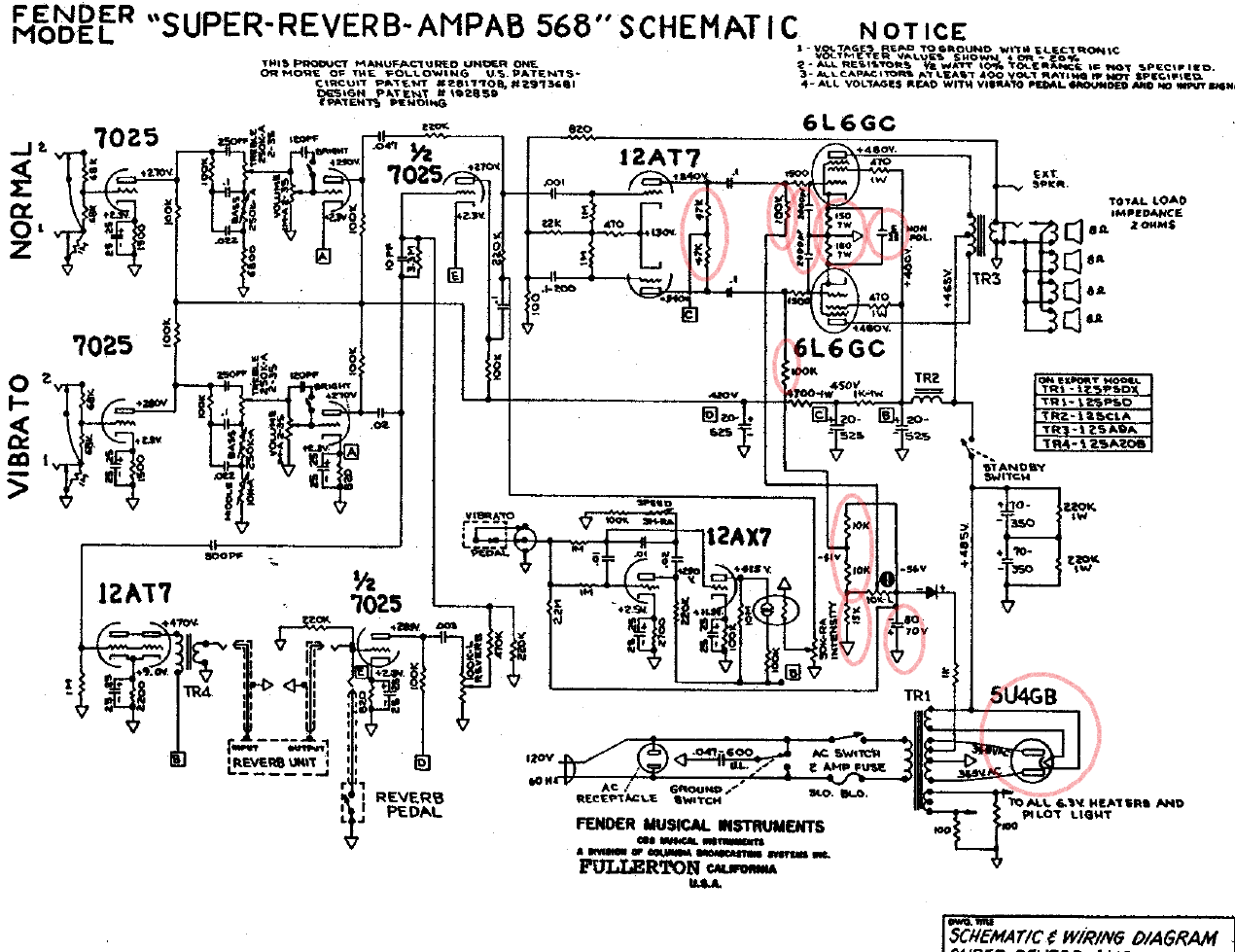 Ultra Linear Twin Reverb Schematic