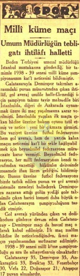 Galatasaray 1959 Öncesi Şampiyonlukları Kabul Etti