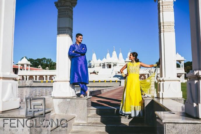 Indian Wedding Pre-Wedding Photos BAPS Shri Swaminarayan Mandir Atlanta