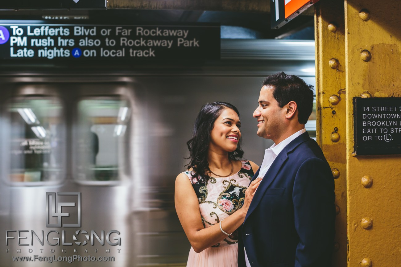 New York City Engagement on Subway platform