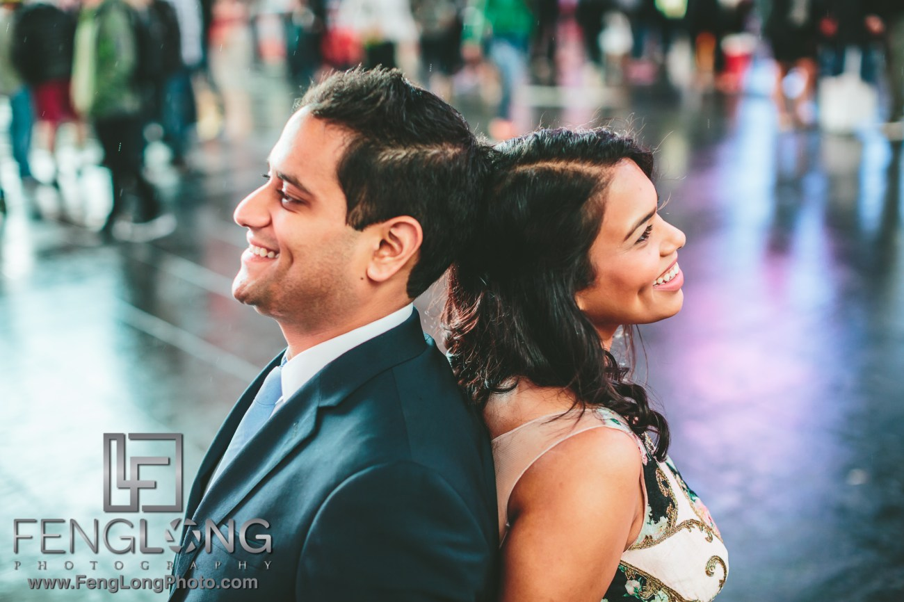 New York City engagement in Times Square for Indian Wedding