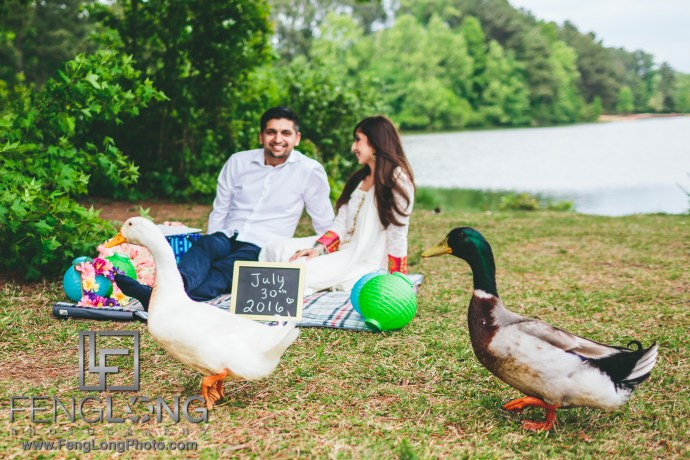 Lakeside Indian Engagement Session in Atlanta with Ducks
